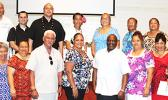 (Front row, center) SoValTi presenters, Tim Logan and Kendra Hughes with members of the Empowering Pacific Island Communities dba EPIC, a community-based nonprofit organization which, in collaboration with Catholic Social Services and Back on Track, hosted a symposium on Coordinated Community Response, on Wednesday, Dec. 6, 2017 — at the Fatu-o-Aiga Pastoral Center, in Tafuna.  [courtesy photo]
