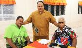 Rev. Faigata Manase with church deacons smile for the Samoa News camera at a special dinner hosted by the CCCAS Malaeloa women's fellowship, Friday evening at the Aniutea church hall. (Photo:THA)
