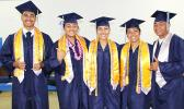 """Some of the 35 graduates of """"Home of the Stallions"""" Kanana Fou High School who turn their tassels to start a new chapter yesterday at the CCCAS Taeaoafua Gymnasium in Tafuna.  [photo: EM]"""