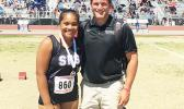 Fifteen-year-old rising Samoan track and field star Kau'ilani Malauulu Misipeka with coach Andrew Papas. Kau'ilani is making noise in Sin City, taking top honors in shot put and discuss throwing. See story for full details.  [photo: courtesy]