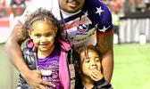 USA Eagles 7s player, Kevon Williams, enjoys hosting his kids on the pitch at BC Place, after the Canada 7s, Vancouver, Canada.  [photo: Barry Markowitz
