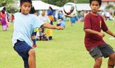 A Kanana Fou-2 player in action during a Boy's Grades' 3-5 Division game against Peteli Academy for the 2016 FFAS Private Elementary Schools Soccer League on Wednesday, Nov. 9, 2016 at the Kanana Fou Seminary field in Tafuna.  [FFAS MEDIA/Brian Vitolio]