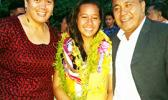 Paramount Builders CEO Papalii Laulii Alofa and his wife Wanda following the induction of new members for the National Honor Society of Manumalo Academy last Friday, one of whom was their eldest child Aitulagi Alofa. [Photo: Blue Chen-Fruean]