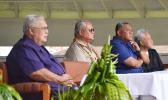 "Police Commissioner Le'i Sonny Thompson (2nd left) during Monday's celebration of Police Week at the Fagatogo malae. He says the police force faces a serious shortage of officers and is underpaid. The police officers are the ""unsung heroes"" working long hours to protect the people of American Samoa.  [SN photo]"
