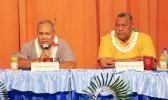The incumbents, Governor Lolo Matalasi Moliga and Lt. Gov. Lemanu Peleti Mauga during this past Monday's Gubernatorial Forum on Disability issues. [photo: TG]