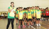 A Lupelele elementary student presenter explains their theme to the judges during the ASDOE/FFAS Just Play Program finale on Thursday, April 27, 2017 at the DYWA gymnasium in Pago Pago.  [FFAS MEDIA/Brian Vitolio]