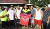 Officials of the Manulele Tausala I and Manulele Tausala II teams of Nu'uuli after receiving their new uniforms from Forsgrens last Friday. [photo: AF]