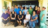 Members of the media in Samoa and American Samoa with U.S. Chargé d'Affaires Angelina Wilkinson who are participating in a training hosted by the Samoa Alliance of Media Practitioners for Development (SAMPOD). They received one of the grants from the US Embassy under the small grants scheme. The conference focuses on reporting on women and the LGBTQI community.  [Photo: JL]