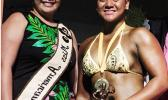 Miss American Samoa Antonina Lilomaiava and the winner for the female division Lautiti Manuma at the Sau Ia Bodybuilding Competition held last Friday at the Gov. H. Rex Lee Auditorium in Utulei. [Photo: EM]