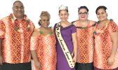 (l-r) American Samoa Visitors Bureau executive director, David Vaeafe; Miss American Samoa Inc. president & chaperone Simeafou Imo; Miss American Samoa Matauaina Toomalatai; Luseane Clark-Vaeafe and Eleitino Tuiasosopo.[photo: Visitors Bureau/MASI]