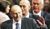 In this April 4, 2015, file photo, President Thomas S. Monson, of The Church of Jesus Christ of Latter-day Saints, waves to the audience during the opening session of the Mormon church conference in Salt Lake City. Monson, the 16th president of the Mormon church, died after nine years in office. He was 90. (AP Photo/Rick Bowmer, File)
