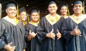Six of the 74 graduates of Nuuuli Vocational Technical High School's Class of 2017 who received their diplomas last Friday. [photo: Blue Chen-Fruean]