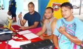 The Official Corner, where scores were announced and official recordkeeping for the ASVB tournament, 2017 Samoa Volleyball Challenge was done. These officials play a vital part in what's going on during the whole tournament.  [photo: Leua Aiono Frost]