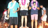 The top three winners of the Open Division competition of the Pago Pago Harbor Optimist Sailing Regatta held on Saturday, Oct.14, 2017 out of Sadie's By the Sea Beach Resort.  [Courtesy photo]