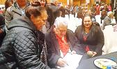 """Managing Director and Owner of S.S.A.B, Fiti Leung Wai (right) is seen with Samoa Prime Minister Tuilaepa (center) during the event that launched """"Palemia"""", a book narrated by the PM to Dr. Peter Swain, in NZ last week.  The book is only available at S.S.A.B branches: in Samoa: Megastore, Lotemau, Salelologa, Vaivase; in New Zealand: S.S.A.B Auckland Sei – Oriana; and, in American Samoa: S.S.A.B Pago.   [Courtesy photo]"""