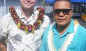 Dempsey Pacific's principal civil engineer, Ty Dempsey (left) and Paramount Builders Inc., president, Papali'i Lauli'i Alofa, last Friday morning at the dedication of the new $4.6 million ASPA Operations Center building in Tafuna. Paramount was the main general contractor for the project while Dempsey was the civil engineer for Lyons & Associates, the subcontractor to Lively & Associates who did the architectural and civil work.  [photo: FS]