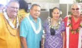 [l-r] Manu'a District Governor, Laolagi F.S. Vaeao; Paramount Builders Inc., president Papali'i Lauli'i Alofa; Public Works director Faleosina Voigt; and Rep. Fatulegae'e S. Mauga, last Friday morning inside the newly dedicated $4.6 million ASPA Operations Center building in Tafuna.  [photo: FS]