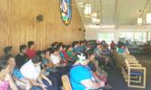 Families, friends and co-workers of Saito Paulo at the chapel attending a prayer service for Paulo — he died yesterday morning. Paulo had been in a coma since he was involved in the electrocution incident while working for the Manu'a's store, located in the Tafuna industrial park, on Saturday morning. He is the second person to have died from the incident.  [Photo: JL]