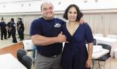 President and Organizer of the Sau Ia Bodybuilding Inc, Peter Reid and Sala Mcmoore after the two-day bodybuilding event held last Thursday and Friday at the Lee Auditorium in Utulei. [Photo: EM]