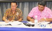 Fiji Airways' Managing Director and Chief Executive Officer, Andre Viljoen (left) and Polynesian Airlines Chief Executive Seiuli Tupuivao Alvin Tuala signing the MOU in Apia, on Monday (Samoa Time) to jointly pursue a range of commercial opportunities and partnerships.  [Courtesy photo]