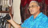 Opapo Soana'i Oeti during a press conference he called at his residence in Vaitele regarding having his pastoral titles that have been stripped by the Elders of the Congregational Christian Church of Samoa (CCCS) in a decision following their meeting last week.  [Photo: JL]