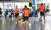 Alfred Tiatia of Royal Puma in action against the Tafuna Jets 1 during the 5th Place Tier competition of the 2017 FFAS Futsal Tournament on Monday, May 29 at the Samoana High School gymnasium in Utulei. [FFAS MEDIA/Brian Vitolio]