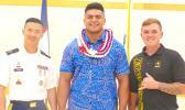 Amanave native Ryan Taifane (center) with local US Army recruiters SFC Kenny Tran and 1SGT Josh Polonowski after Taifane was officially sworn in at the Konelio Pele Army Reserve Center earlier this month. Taifane is the first Samoan in five years to be sworn in locally as an officer candidate. [photo: LF]