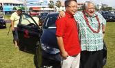 Chinese Ambassador in Samoa Wang Xuefeng and PM Tuila'epa Sa'ilele Malielegaoi at the presentation of 20 brand new Sedan vehicles for the Pacific Island Forum meeting to be hedl in Samoa next week. [Photo: Tipi Autagavaia]