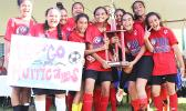 Samoa Baptist Academy's 7-8 girls team — champions of their division for the 2017 FFAS Private Elementary Schools Soccer League.  [FFAS MEDIA/Brian Vitolio]