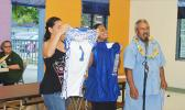 New uniform for the Samoana High School football teams donated by the school Booster Club last week. [photo AF]