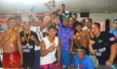 Smiling faces from the Samoa boxing team after winning the Governor's Cup during the American Samoa Flag Day Boxing Championships between the two Samoas held at the old Bowling Alley last Saturday night. The decision to give the Cup to Samoa was made by the president of the American Samoa Amateur Boxing Council after the boxing tournament ended in a 3-each win tie.  [photo by AF]