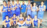 Samoana Sharks Back-to-Back Champions for the Junior Varsity Basketball Division. Head Coach Ames with his JV boys after winning the title for second-straight year against the Marist Crusaders on Saturday morning at the Samoana High School Gymnasium in Utulei.  [photo: Ese Malala]