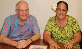 """Territorial Bank of American Samoa president, Philip Ware with TBAS chief operations officer, Makerita Polu following yesterday's news conference, where the officials announced that TBAS has opened its """"master account"""" with the Federal Reserve Bank, San Francisco.  [photo: FS]"""