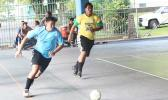Kevin Ting of Green Bay B in action against Tafuna Jets 2 during the 9th Place Tier competition of the 2017 FFAS Futsal Tournament on Monday, May 29 at the Samoana High School gymnasium in Utulei. [FFAS MEDIA/Brian Vitolio]