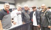 (l-r) US Army veteran Molioleava Mulitauaopele, Whitey Chen, Su'a Suluape Alaiva'a Petelo, Bong Padilla, and Steve MaChing at last year's inaugural Tatau Festival held at the Greater Tacoma Convention Center in Washington State. This year, the tap, tap, tap of the 'au and the whirring sound of tattoo machines will once again fill the air in the Pacific Northwest when tattoo artists from all over the world gather for the 2nd Annual Tatau Festival scheduled for June 30-July 2. See story for full details.  [p