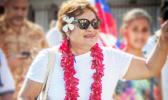 RAISING AWARENESS: Member of Samoan Solidarity International Group, Unasa Iuni Sapolu. [Samoa Observer]