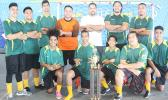 Utulei Youth, the 2017 FFAS Futsal Tournament champions with their trophy after the 2- 1 shootout (1-1) win against Pago Youth 1 on Monday, May 29 at the Samoana High School gymnasium in Utulei.[FFAS MEDIA/Brian Vitolio]