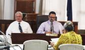 Attorney General Talauega Eleasalo V. Ale (right) and the AG's office administrator  Fa'aua'a Katuferu during the Department of Legal Affairs FY 2020 budget hearing on Wednesday before the Fono Joint Budget Committee