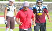Head Coach of the American Samoa All-Star Football Team, Pati Pati running towards the sidelines after placing the ball at the line of scrimmage – during the All-Star practice session at the Veterans Memorial Stadium, this past Tuesday. [photo: TG]