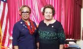 Congresswoman Aumua Amata with Hawai'i Pacific VFW commander, High Chief Igafo Maria Va'a