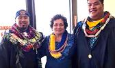 Congresswoman Aumua Amata with North Park University graduates Stephen B. Maifea and Leuatea I. Fai'ai. Amata personally presented the two graduates with their diplomas, honoring their achievements. Samoa News congratulates both graduates and wishes them success into the future. [photo: courtesy]