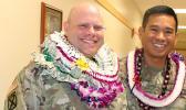 Lt. Col. Clinton Seybold (left) and  Lt. Col. Alejandro L. Buniag Jr.