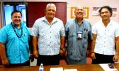 ASCC-ACNR/Land Grant director Aufa'i Apulu Ropeti Areta (2nd right) welcomed visitors from the Independent State of Samoa's environmental ministries, who came to learn firsthand about the invasive little fire ant, which has yet to reach Samoa.  Pictured with Aufa'i are Samoa Ministry of Agriculture and Fisheries ACEO Lupeomanu Pelenato Fonoti; Ministry of Natural Resources and Environment CEO Tofa Ulu Bismarck Crawley Areta; and Ministry of Natural Resources and Environment ACEO Seumaloisalafai Afele Faiila