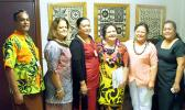 [l-r]: Sonny Leomiti, vice president of Administration & Finance; Dr. Pato; Letupu Moananu, vice president of Academic Affairs; Leuma; Ah Mu; and Sereima Asifoa, director of Human Resources.