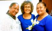 Dr. Faofua Faatoafe (center) relaxes with Business Ambassadors of ASCC (BAOA) President Mayanne Faatau (right) and special guest Leiua Aiono Frost of Samoa News