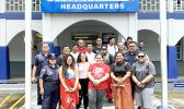 ASCC students and DPS officers outside the Fagatogo police station