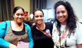 "Organizer Doris Tulifau (right) celebrates after the conclusion of a successful Poetry Slam at ASCC in late April. Joining her are guest speaker Sala Pa'au (left) and Sina Auva'a Hudson of the ASCC Student Services Division. The Poetry Slam, which featured students from ASCC and local high schools, went by the theme ""Embrace Your Voice"" to empower young people to speak out about domestic and sexual violence.  [photo: J. Kneubuhl]"