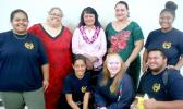 With Sandra King-Young are instructors Adrian Vasai-Moana (to her left) and Kayla Sauafea, along with club members.