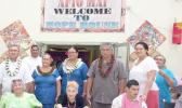 Pictured is Vicar General, Father Viane Etuale (back row, left) and other Diocese of Samoa Pago Pago officials, with three Hope House residents (seated).
