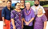 (back row l-r): Chris Ausage, staff historian; Tish Peau, Historic Preservation Officer and executive director; and Lance Te'i, GIS specialist and historian tech. (front row l-r) Flo Aetonu, grant manager; former Historic Preservation Officer turned consultant, David Herdrich; and Epi Suafo'a-Taua'i, archaeological technician